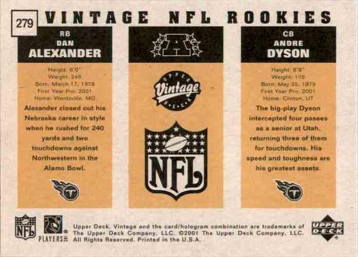 2001 Upper Deck Vintage Andre Dyson RC/Dan Alexander RC #279 card back image