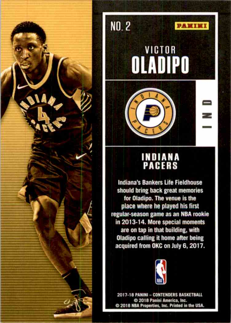 2017-18 Panini Contenders Base Victor Oladipo #2 card back image