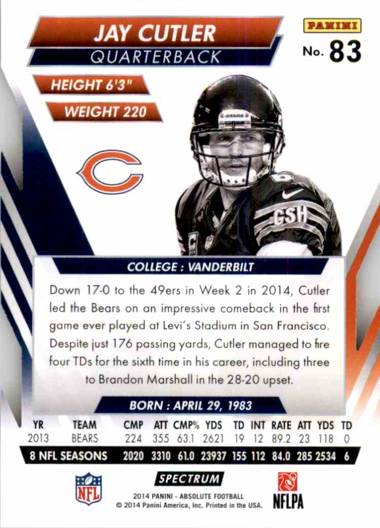 2014 Absolute Retail Red Jay Cutler #83 card back image