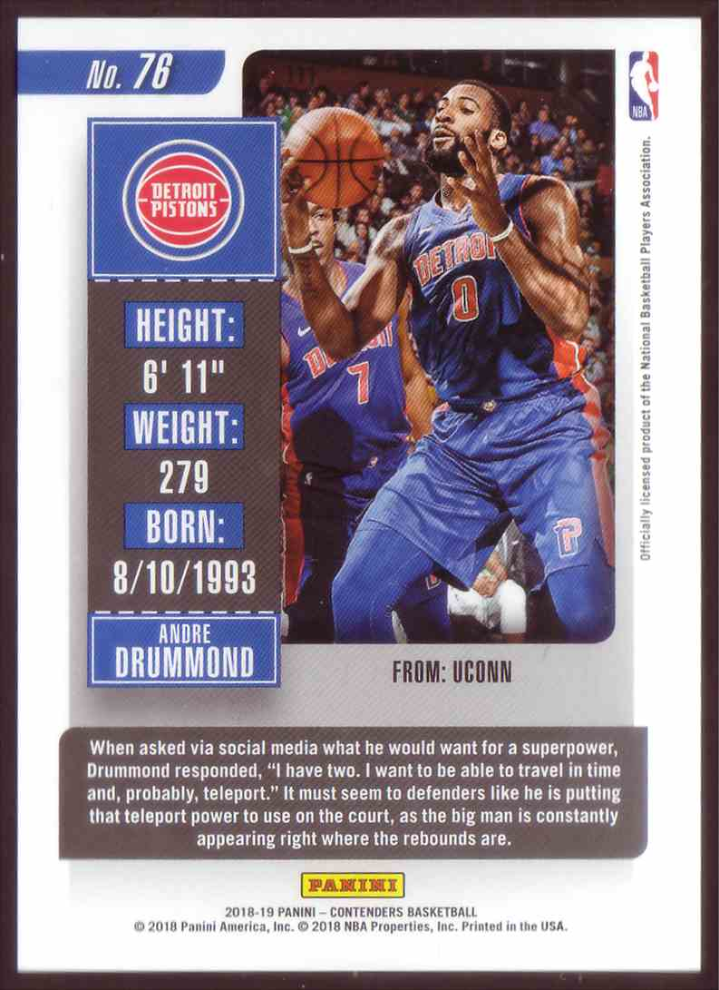 2018-19 Panini Contenders Playoff Tickets Andre Drummond #78 card back image