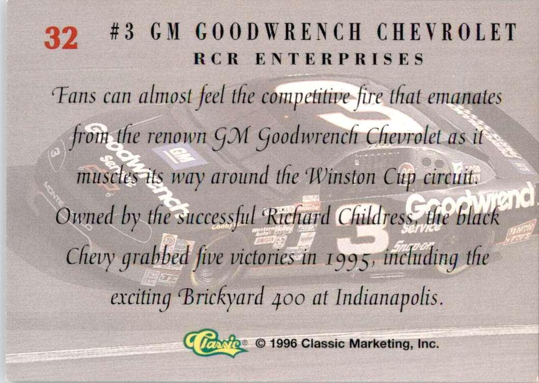 1996 Classic Dale Earnhardt's Car #32 card back image