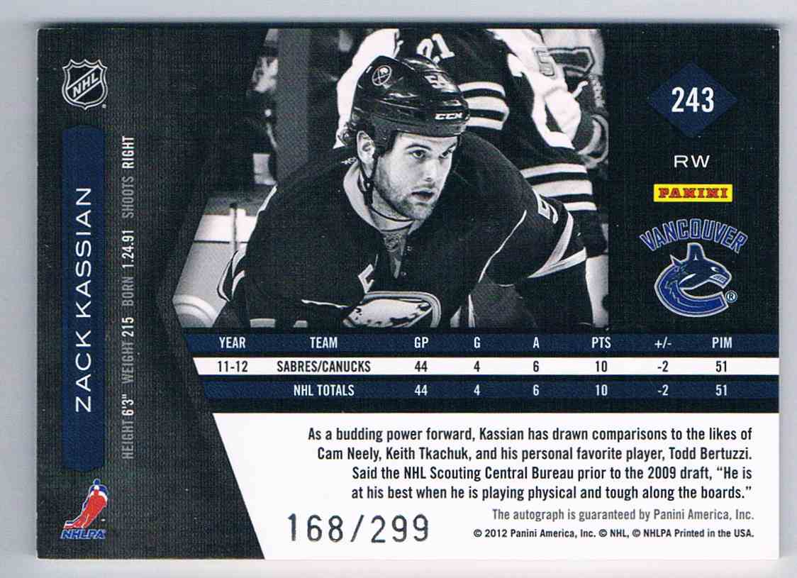 2011-12 Panini Limited Phenoms Zack Kassian #243 card back image