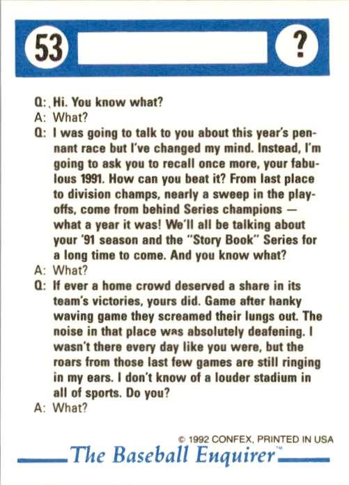 1992 Confex Baseball Enquirer Dan Gladden #53 card back image