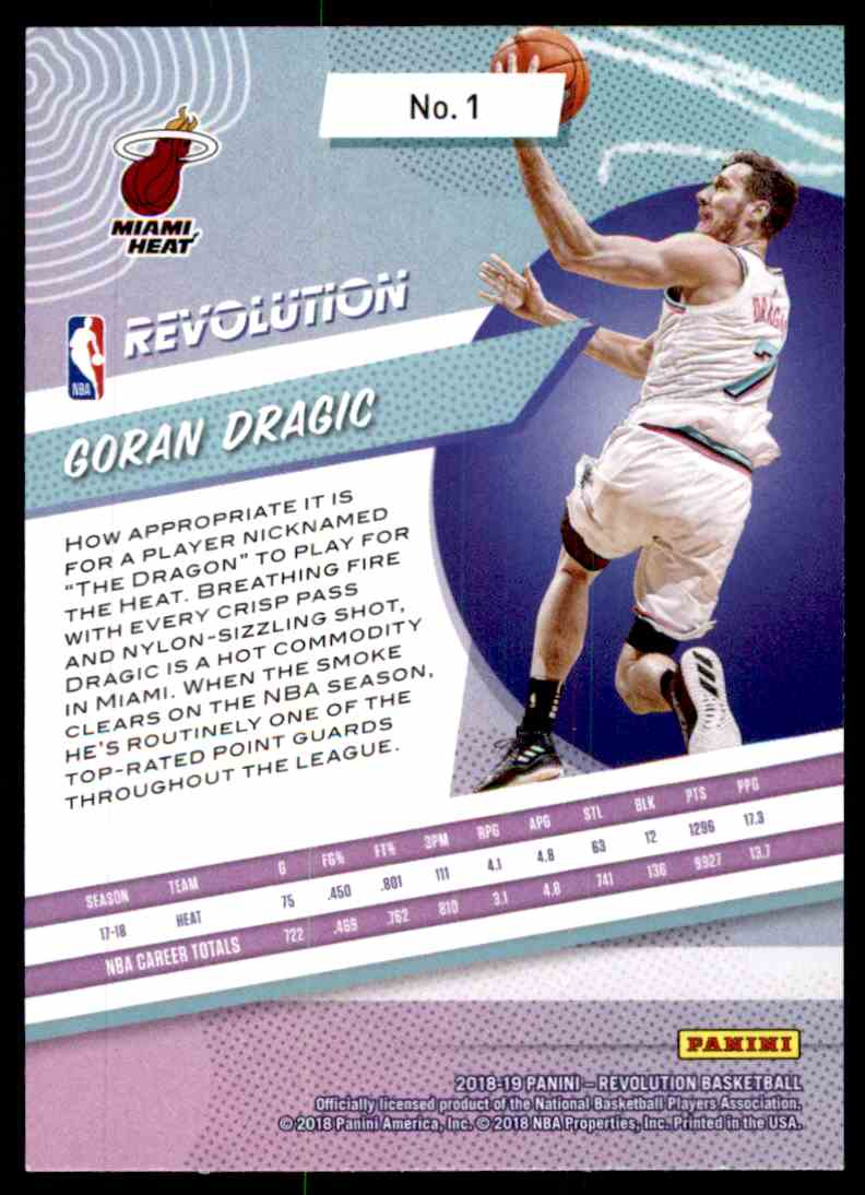 2018-19 Panini Revolution Base Goran Dragic #1 card back image