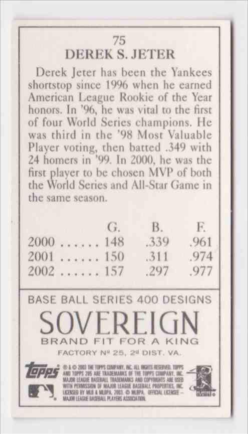 2003 Topps T205 Sovereign Derek Jeter #75 card back image