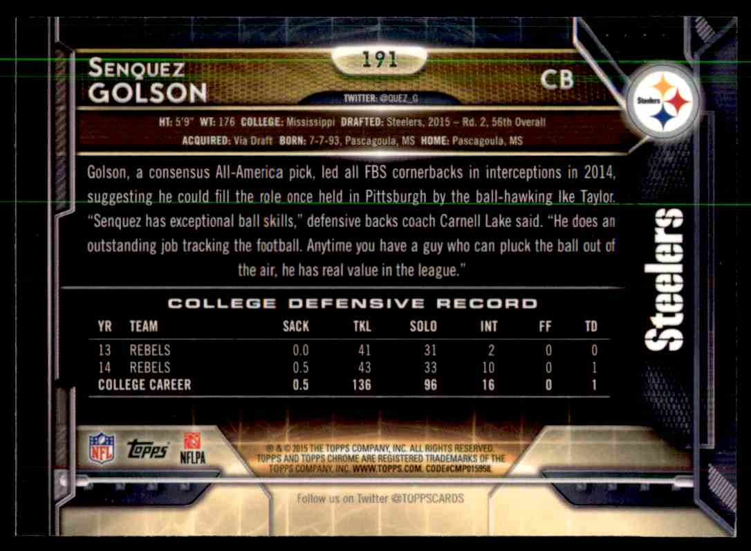 2015 Topps Chrome Purple Refractor Senquez Golson #191 card back image