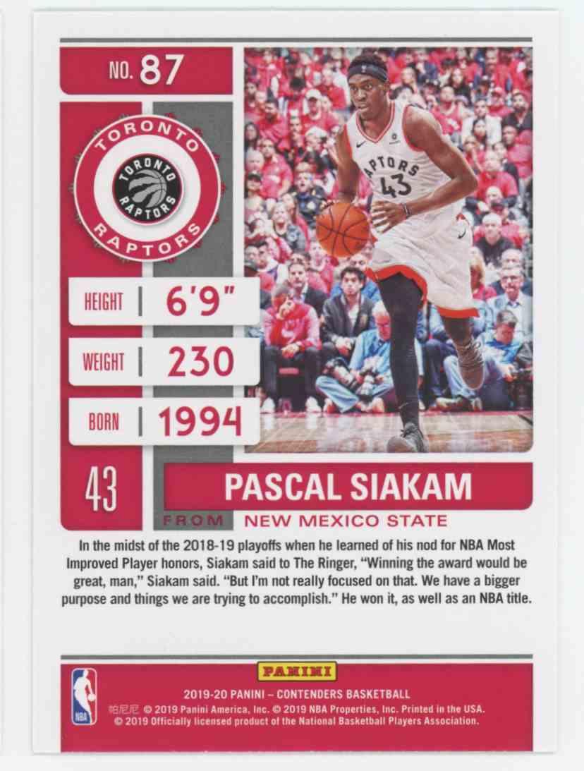 2019-20 Panini Contenders Pascal Siakam #87 card back image