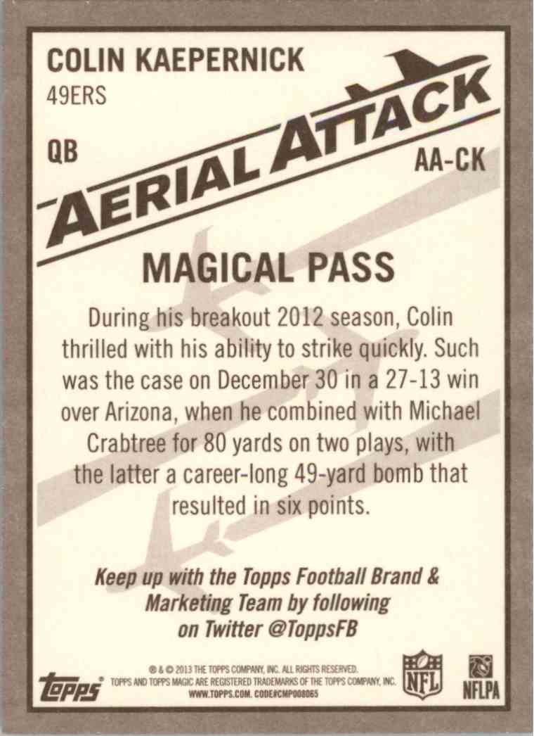 2013 Topps Magic Aerial Attack Colin Kaepernick #AACK card back image