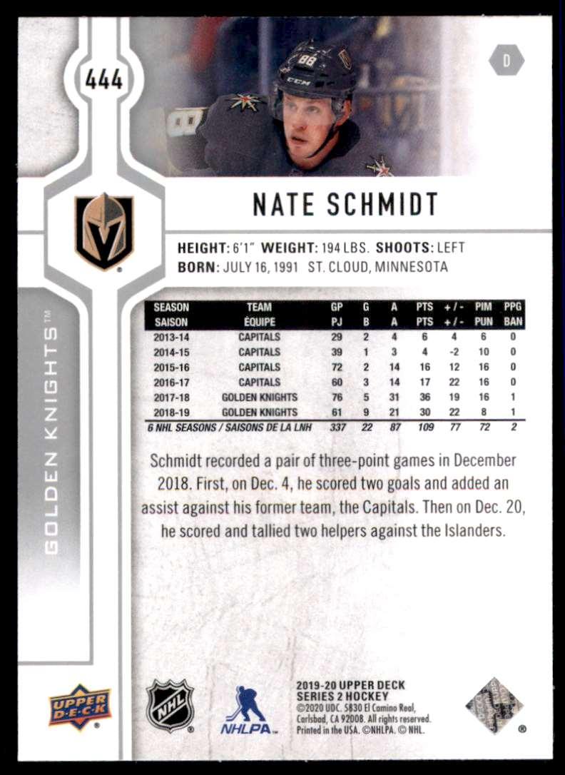 2019-20 Upper Deck Nate Schmidt #444 card back image