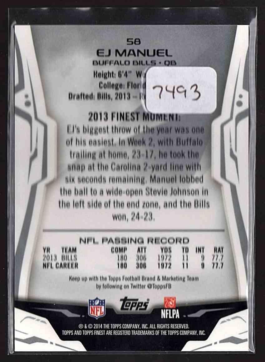 2014 Finest Blue Refractors Ej Manuel #58 card back image