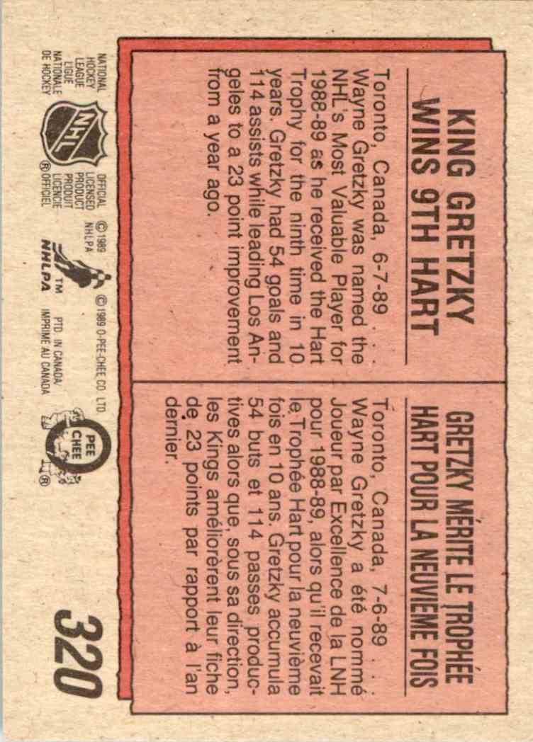 1989-90 O-Pee-Chee Wayne Gretzky #320 card back image