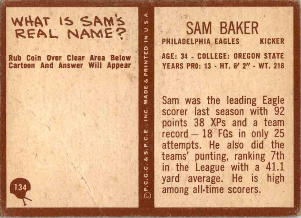 1967 Philadelphia Sam Baker #134 card back image