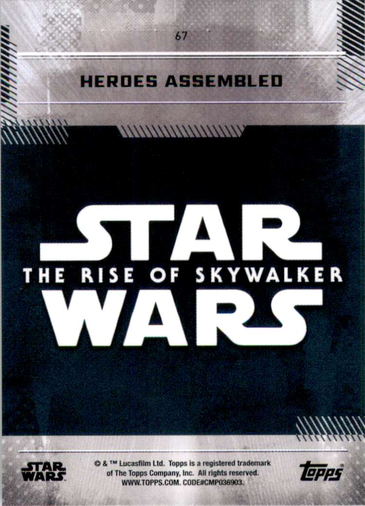 2019 Star Wars The Rise Of Skywalker Series One Heroes Assembled #67 card back image