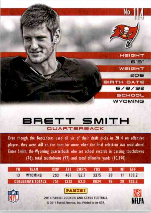 2014 Rookies And Stars Brett Smith RC #114 card back image