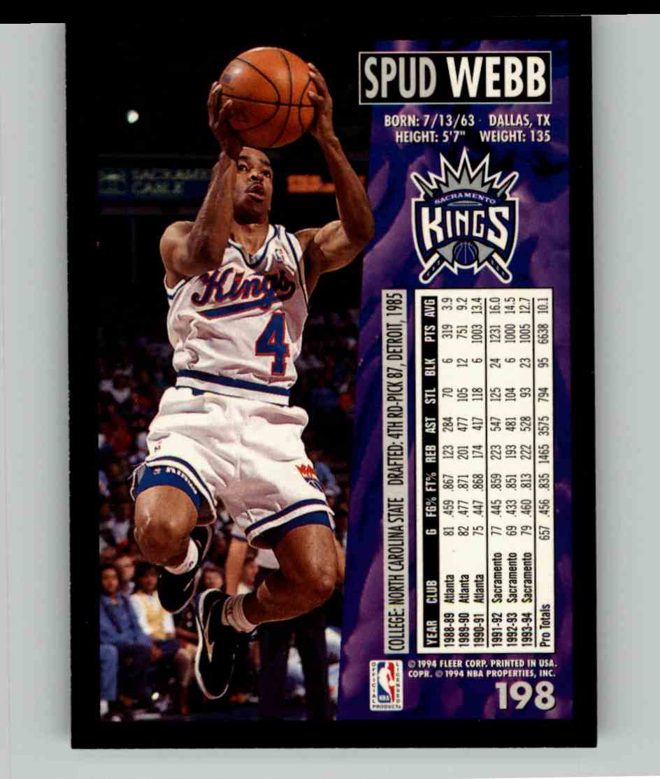 1994-95 Fleer Spud Webb #198 card back image