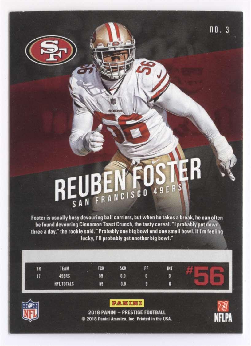 2018 Panini Prestige Reuben Foster #3 card back image
