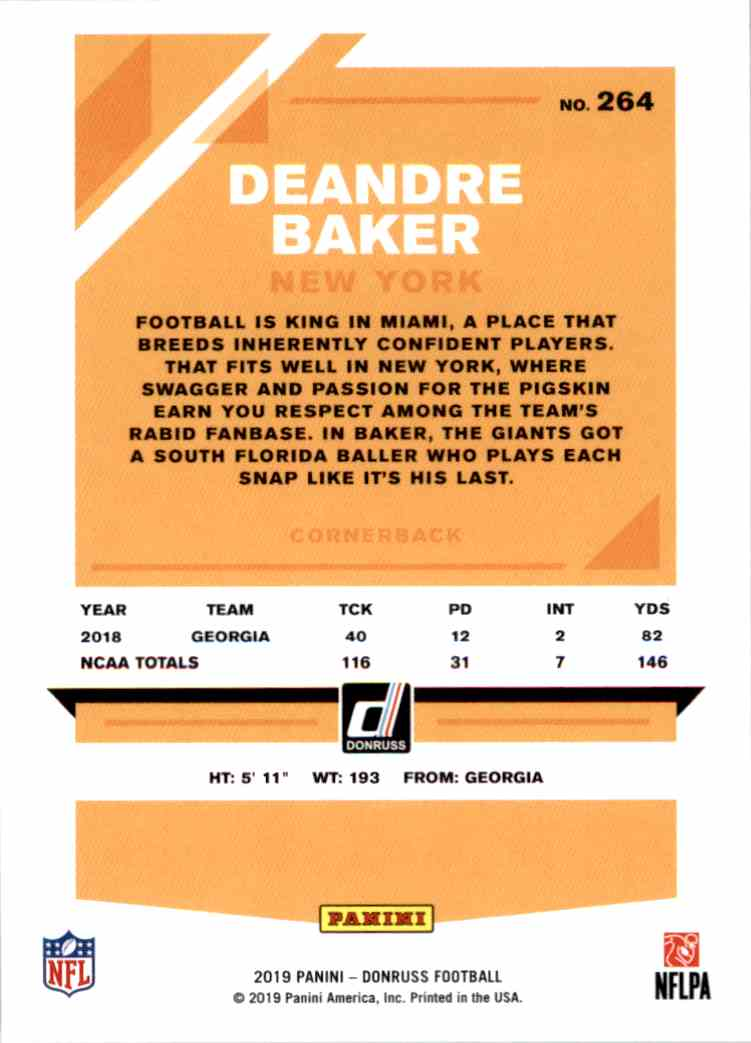 2019 Panini Donruss Deandre Baker #264 card back image