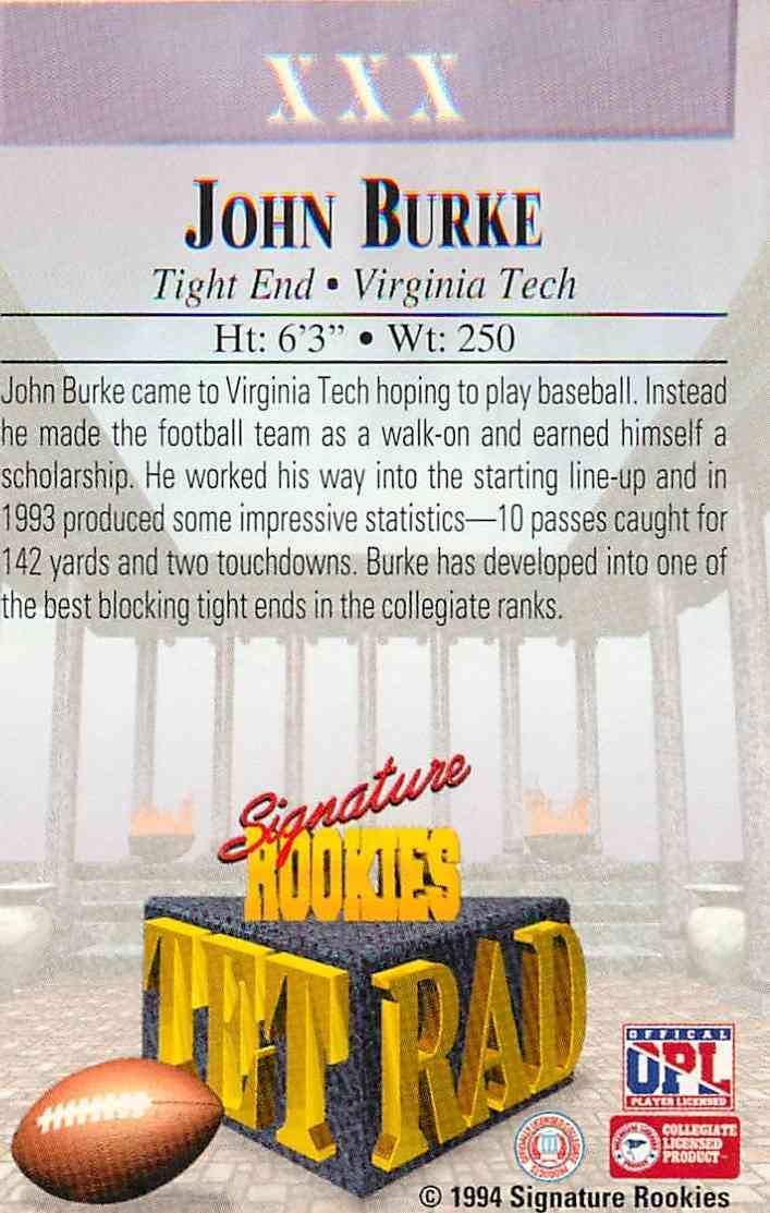 1994 Signature Rookies Authentic Signature John Burke #XXX card back image
