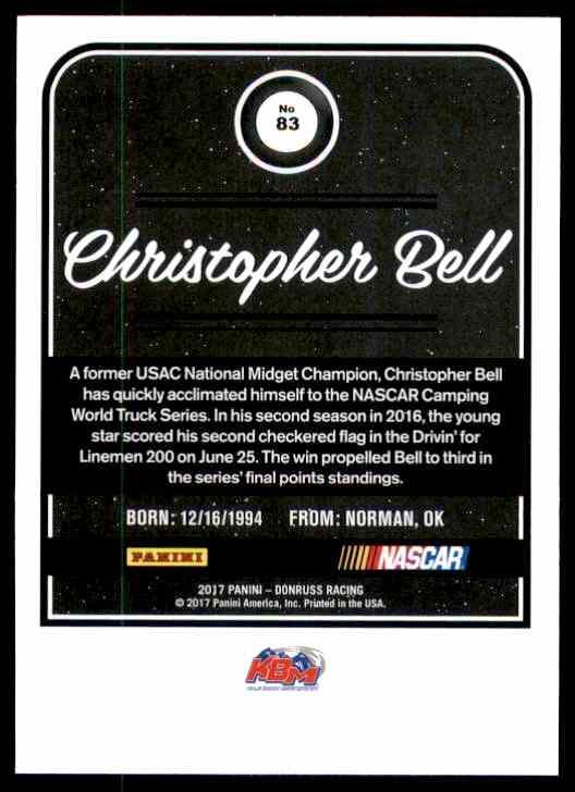 2017 Donruss Christopher Bell #83 card back image