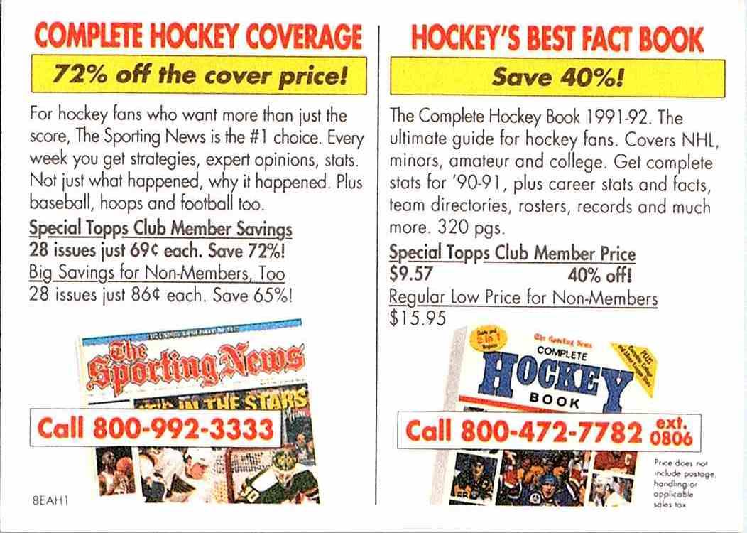 1990-91 Vending Machine Complete Hockey Coverage on Kronozio