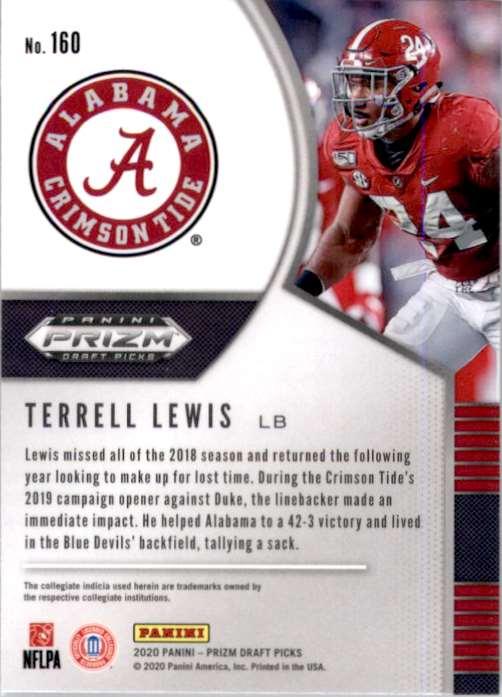 2020 Panini Prizm Draft Picks Terrell Lewis #160 card back image