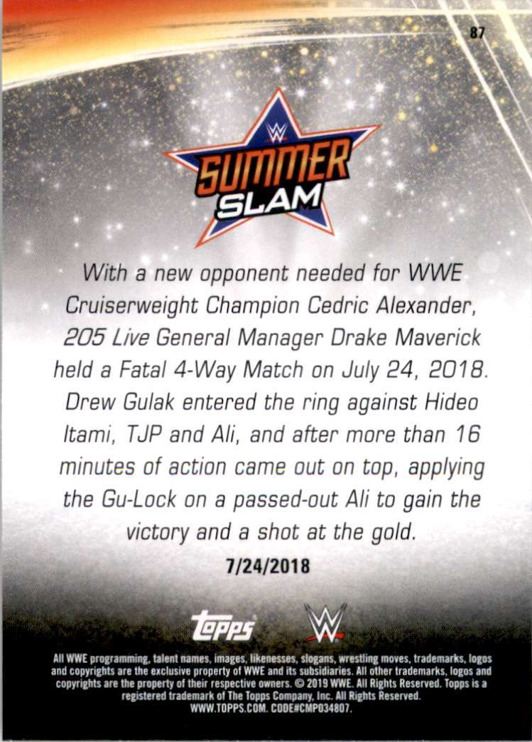 2019 Topps Wwe SummerSlam Drew Gulak Becomes The #1 Contender For The Wwe Cruiserweight Championship #87 card back image