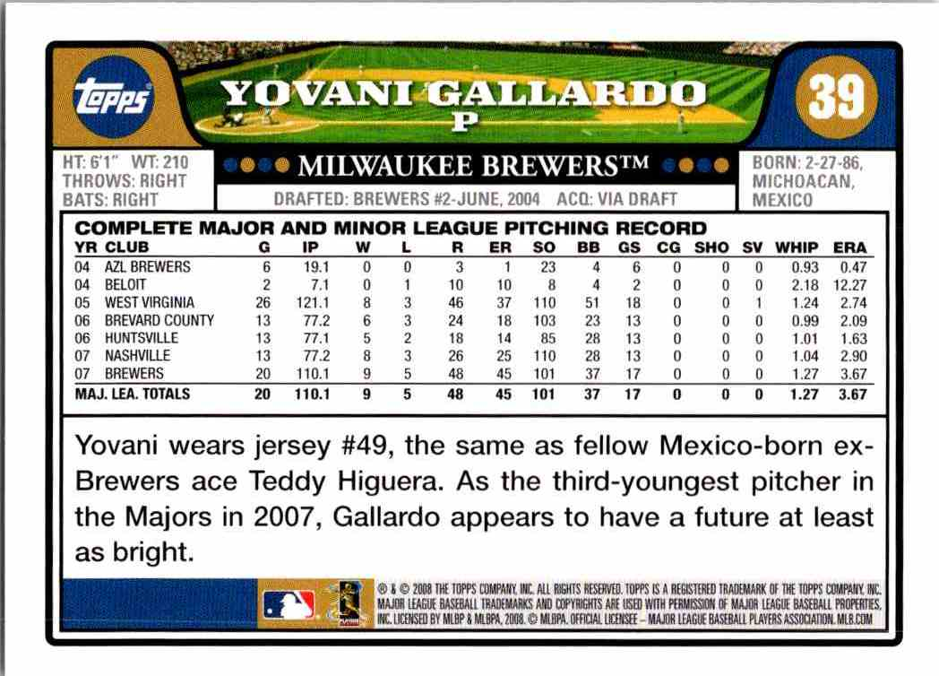 2008 Topps Yovani Gallardo #39 card back image