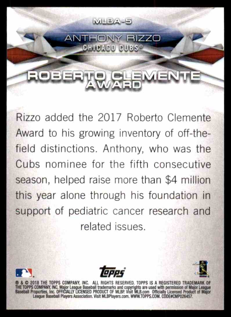 2018 Topps Series 1 Roberto Clemente Award Anthony Rizzo #5 card back image