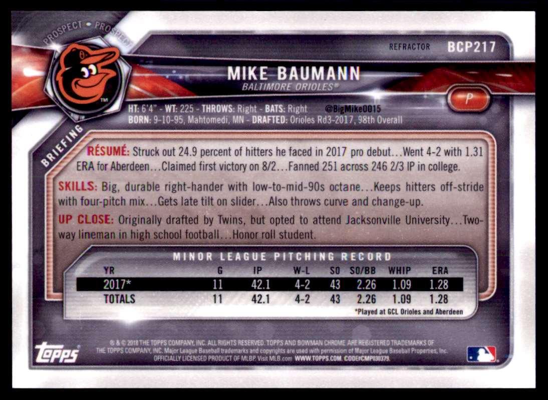 2018 Bowman Chrome Prospects Mike Baumann #BCP217 card back image