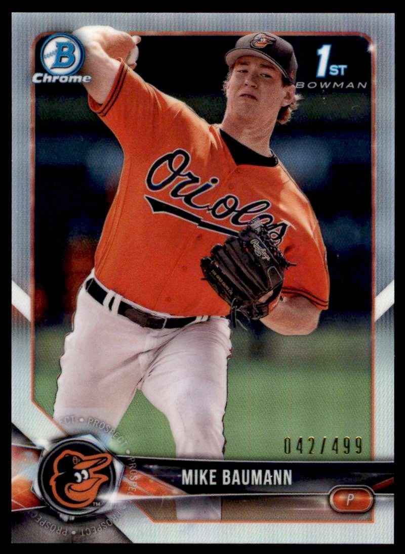2018 Bowman Chrome Prospects Mike Baumann #BCP217 card front image