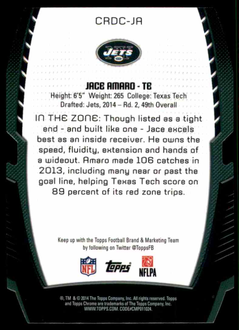 2014 Topps Chrome Rookie Die Cuts Jace Amaro #CRDCJA card back image