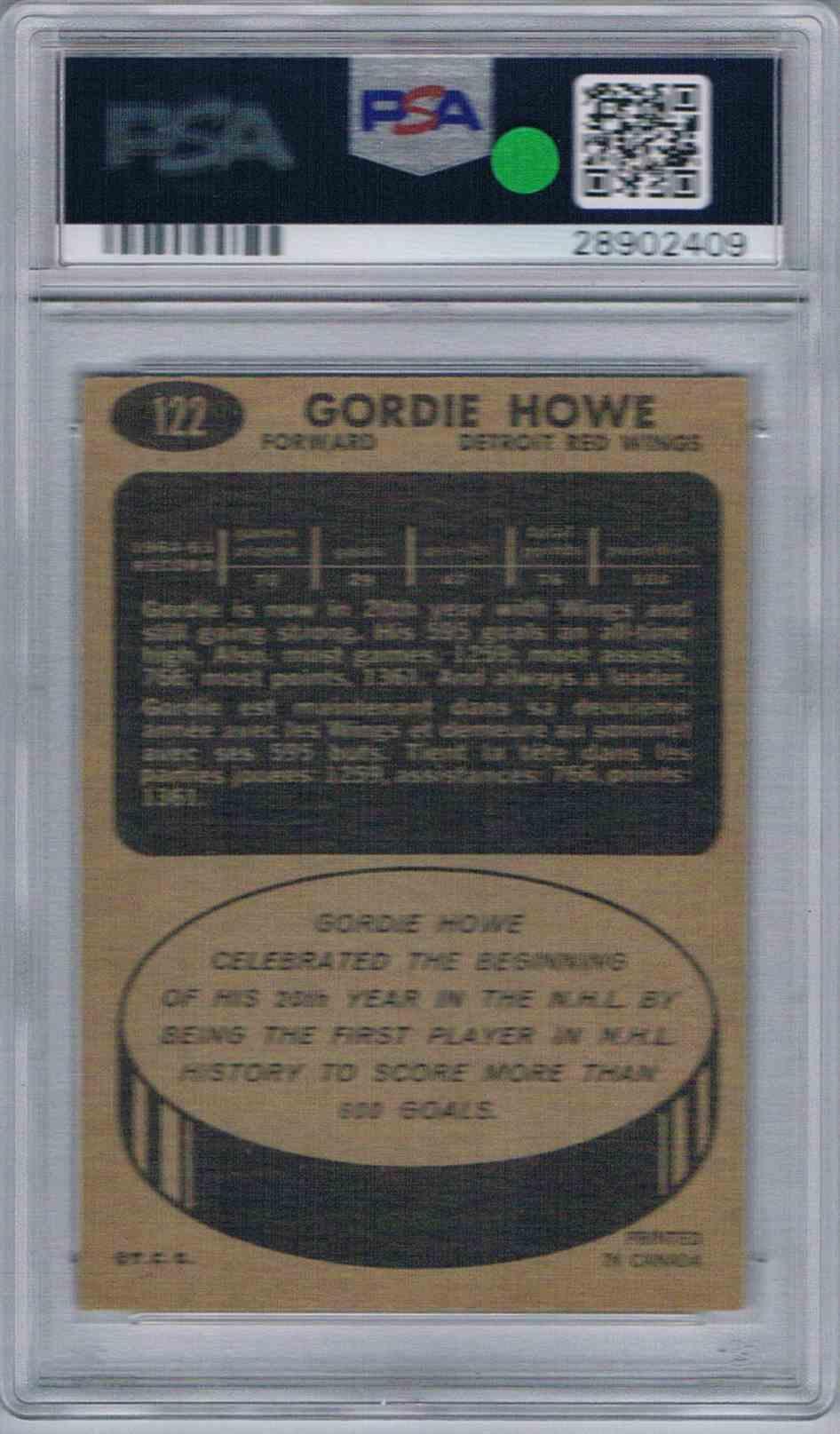 1965-66 Topps Gordie Howe #122 card back image