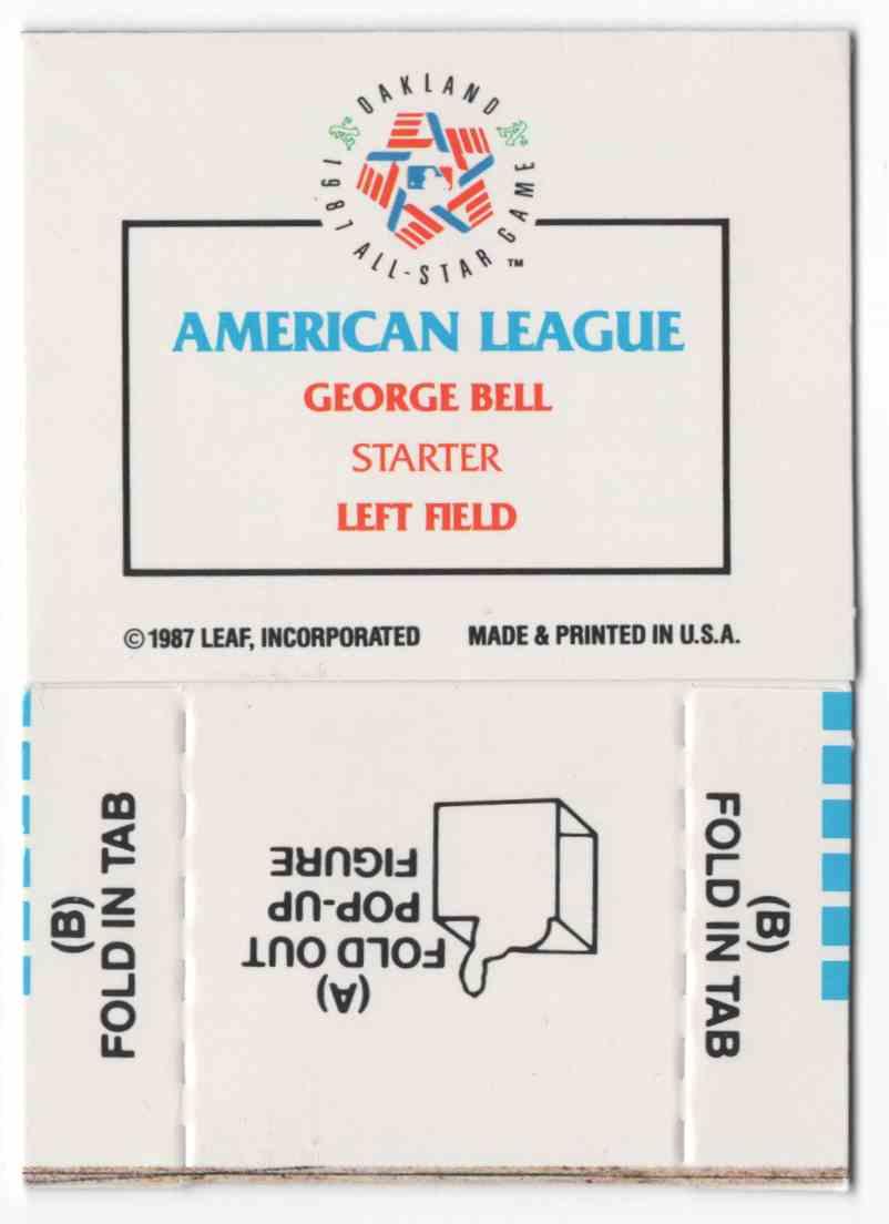 1988 Donruss Pop-Ups George Bell #6 card back image