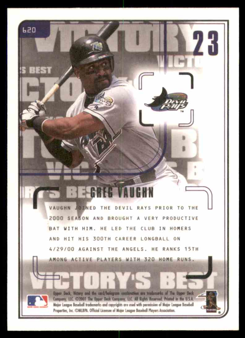2001 Upper Deck Victory Greg Vaughn Vb #620 card back image