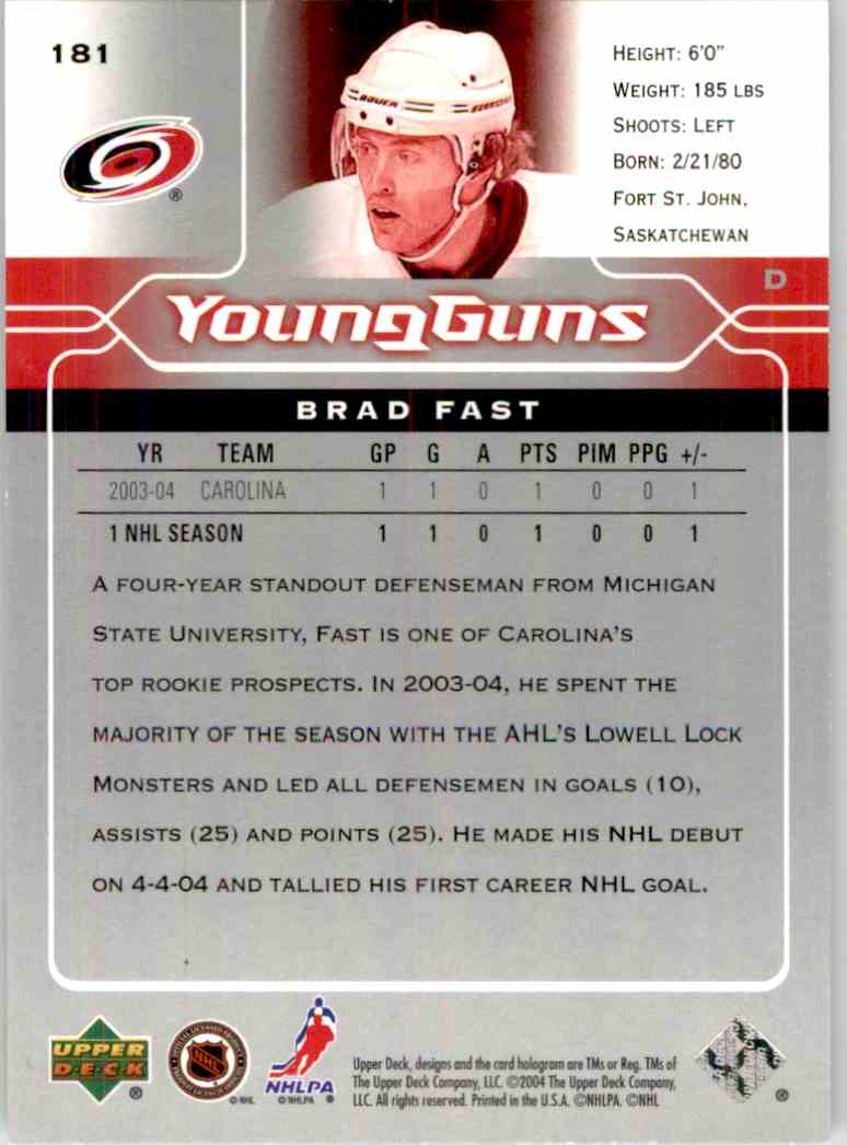 2004-05 Upper Deck Young Guns Brad Fast #181 card back image