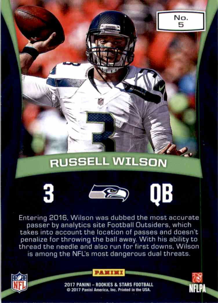 2017 Rookies And Stars Precision Passers Russell Wilson #5 card back image