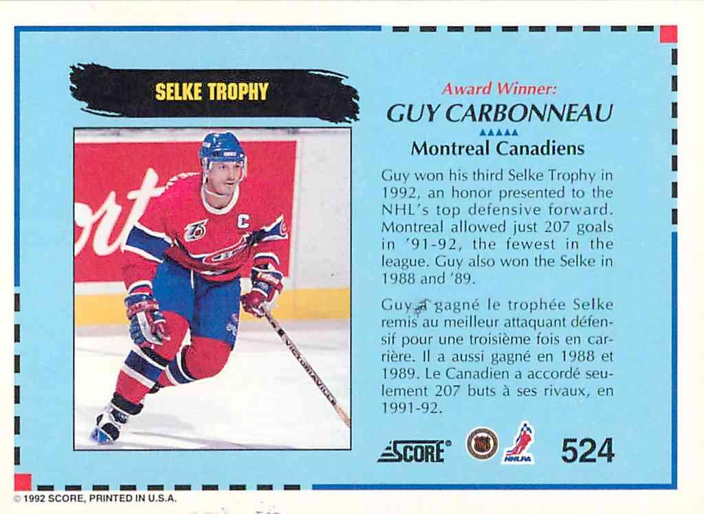 1992-93 Score Award Winner Guy Carbonneau #524 card back image