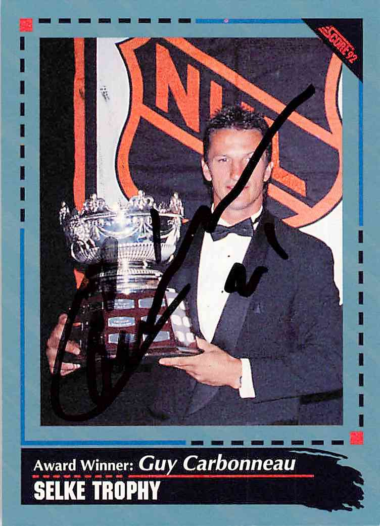 1992-93 Score Award Winner Guy Carbonneau #524 card front image