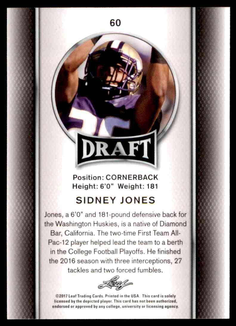 2017 Leaf Draft Sidney Jones #60 card back image