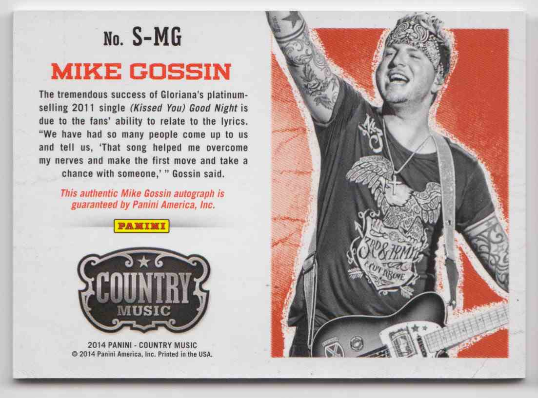 2014 Panini Country Music Blue Mike Gossin #S-MG card back image