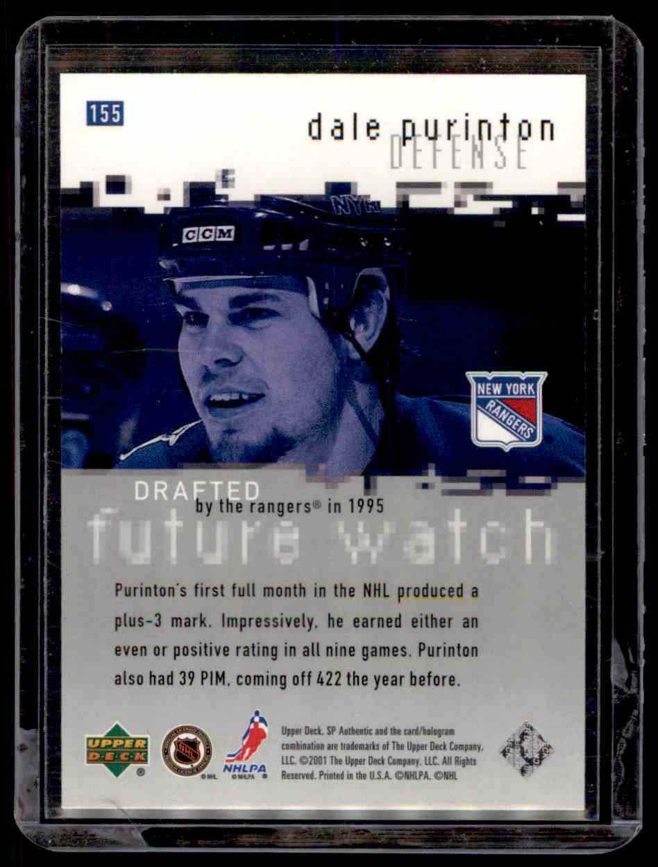 2000-01 SP Authentic Dale Purinton #155 card back image