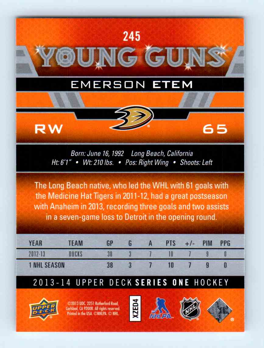 2013-14 Upper Deck Young Guns Emerson Etem #245 card back image