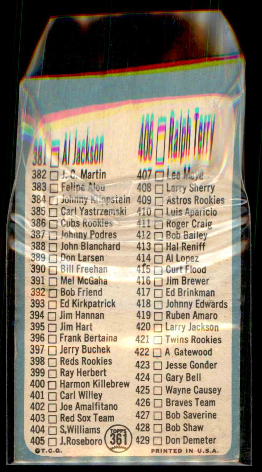 1965 Topps Checklist #361 card back image
