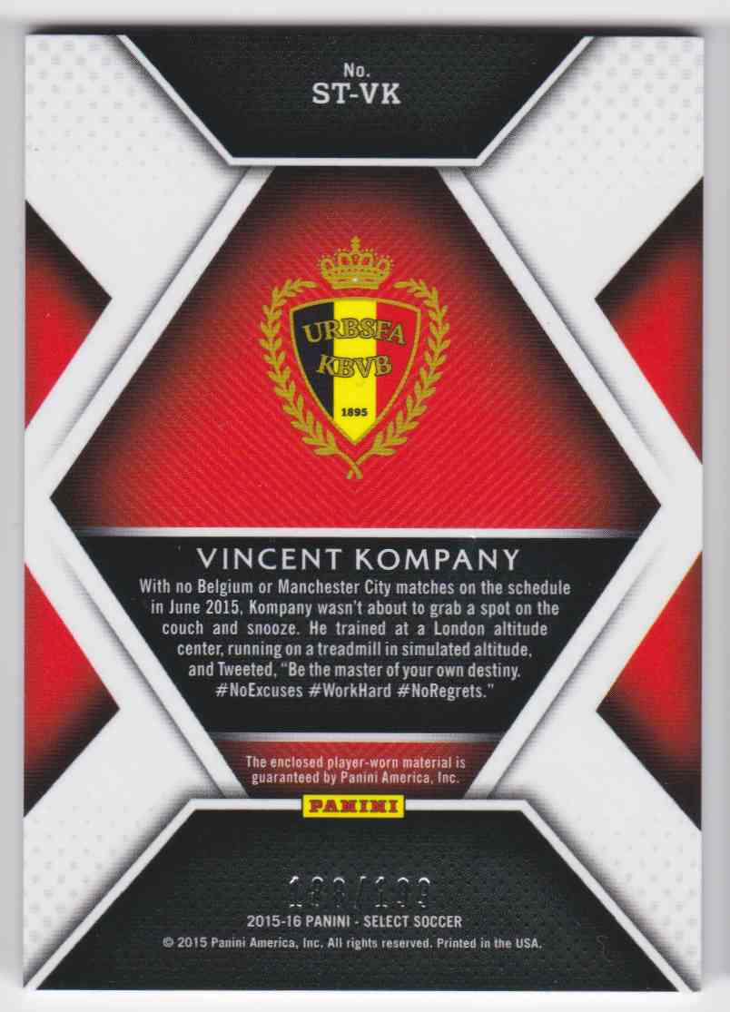 2015 Select Stars Vincent Kompany #ST-VK card back image