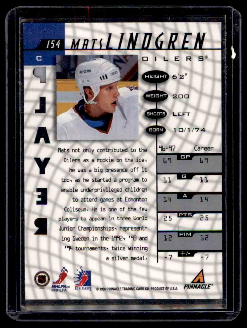 1997-98 Be A Player Autographs Die Cut Mats Lindgren #154 card back image