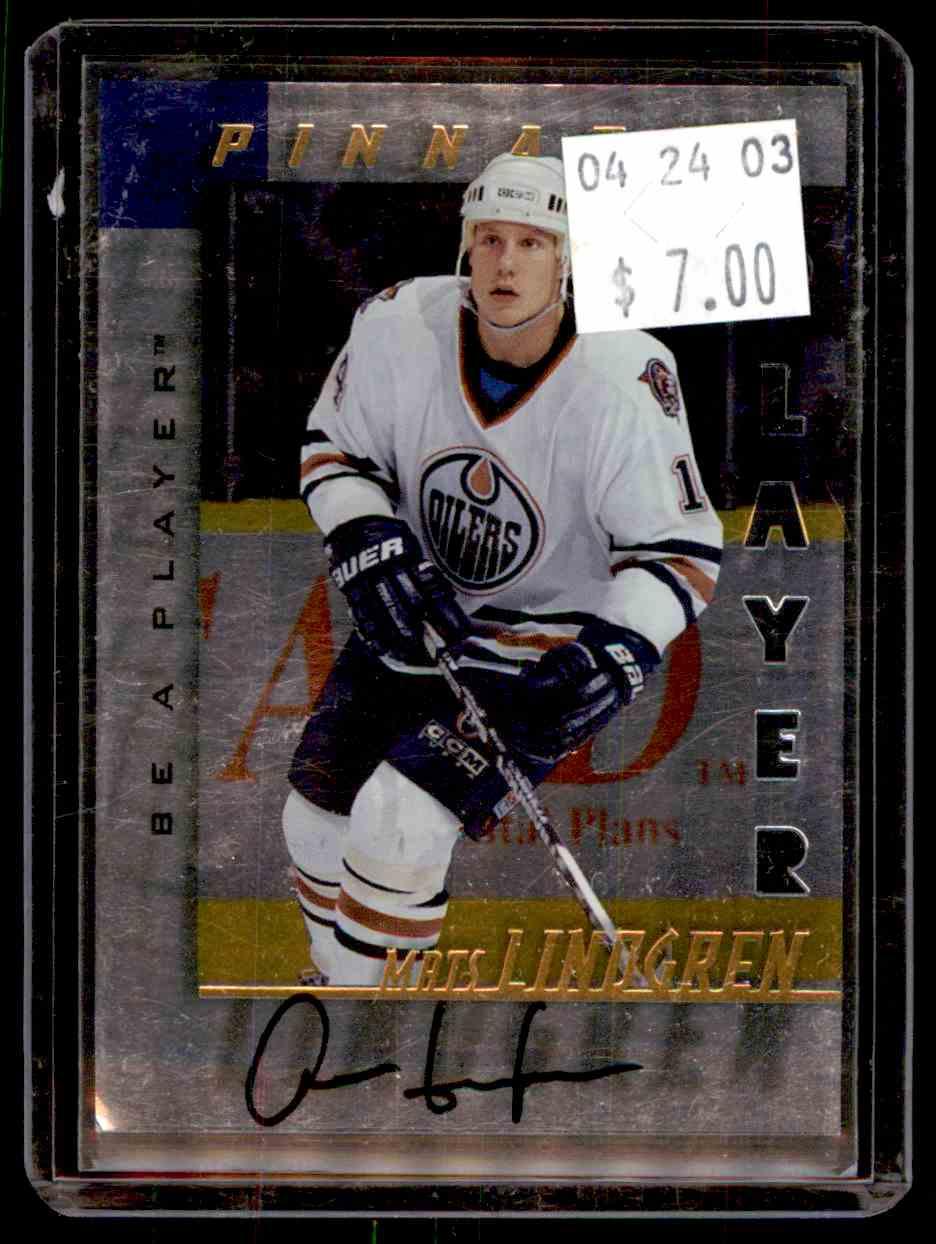 1997-98 Be A Player Autographs Die Cut Mats Lindgren #154 card front image