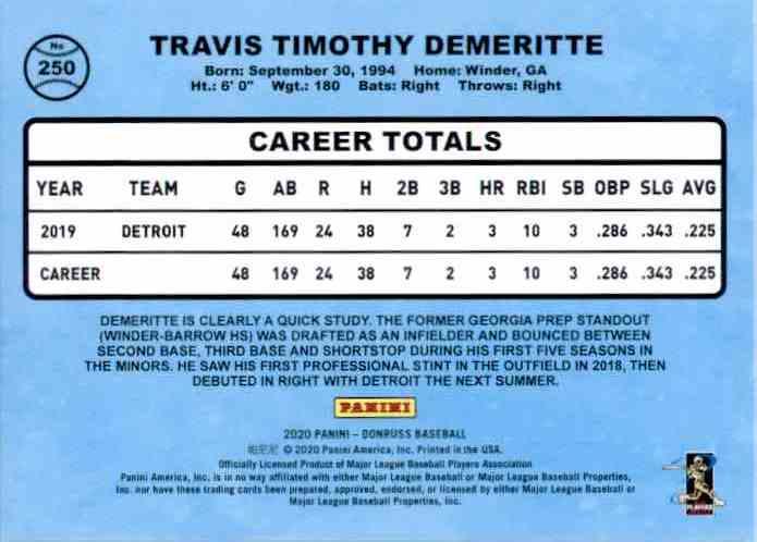 2020 Donruss Travis Demeritte Retro RC #250 card back image