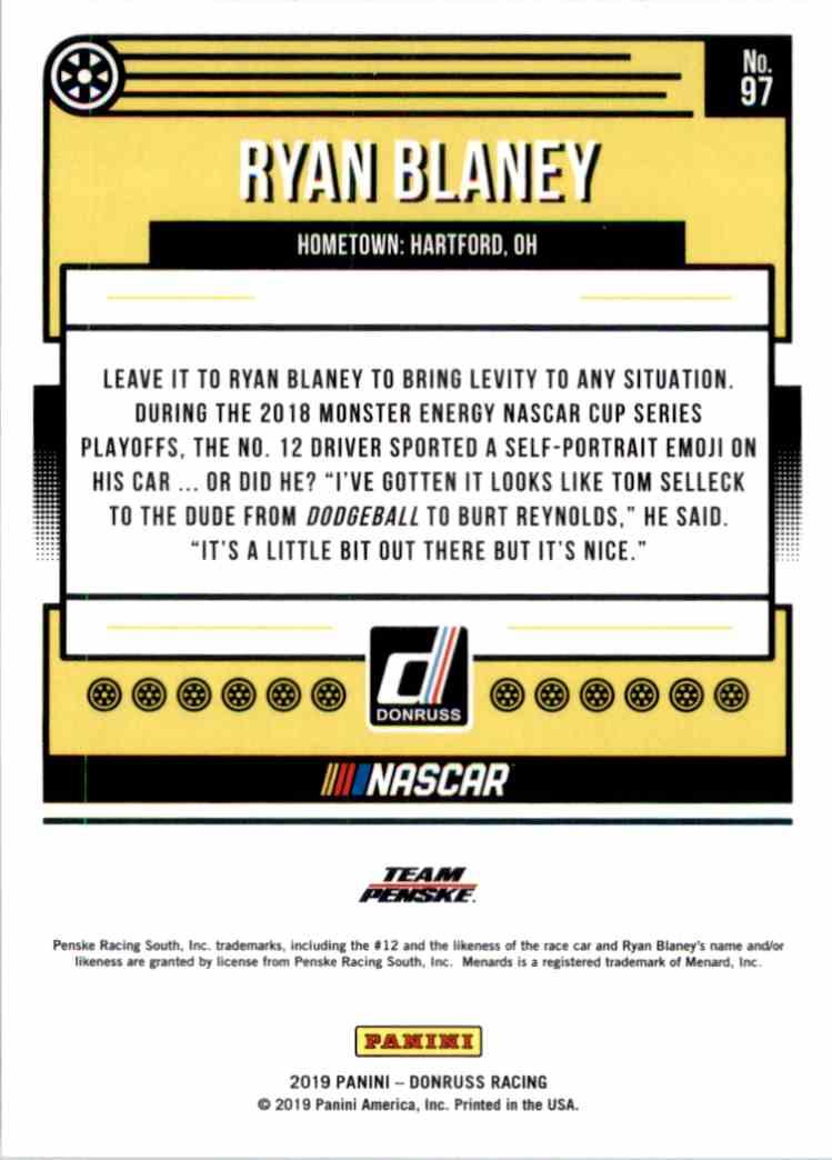 2019 Donruss Ryan Blaney #97 card back image