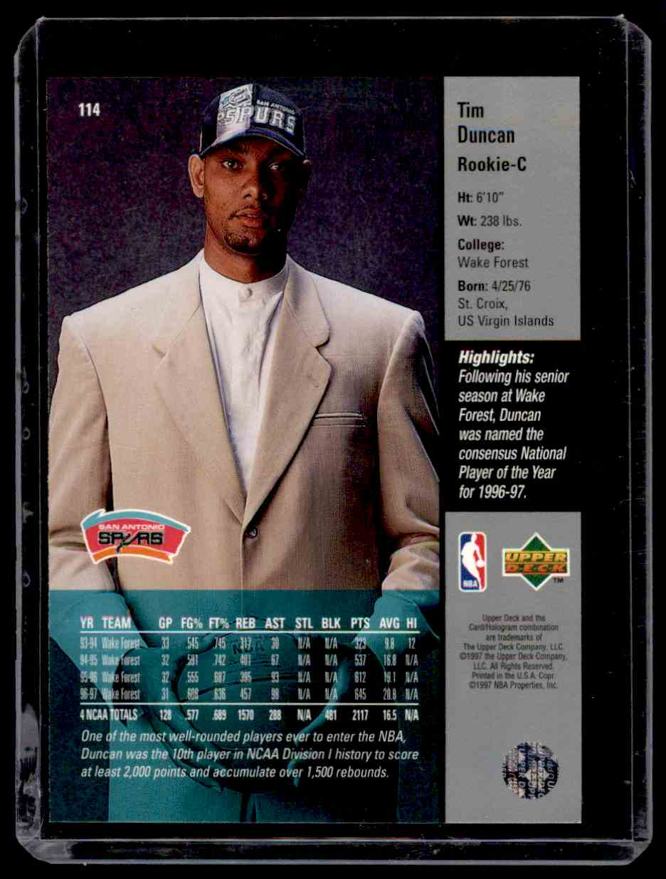 1997-98 Upper Deck Tim Duncan #114 card back image