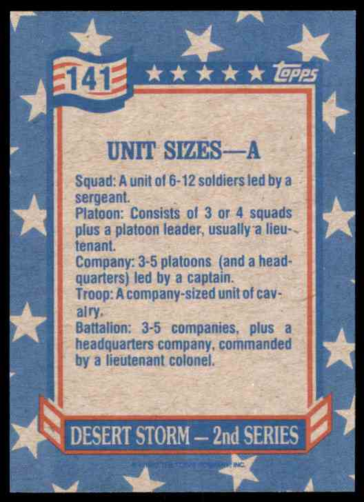 1991 Desert Storm Topps Unit Sizes - A #141 card back image